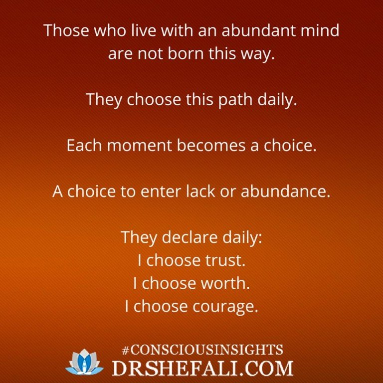 Those who will live with an abundant mind – Conscious Insights – January 20, 2016