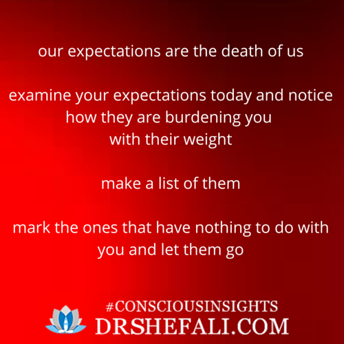 Our expectations are the death of us –  Conscious Insights – March 18, 2016